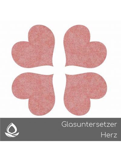 Eco Filz Glasuntersetzer Herz Set von 4
