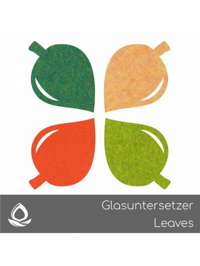 Eco Filz Glasuntersetzer Leaf - set von 4