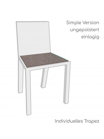 Stuhlauflage nach Maß - Trapezform - Simple